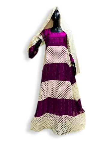 African Attire Embroidered Rayon Women Long Dress Stitched Elegant Gown 2021