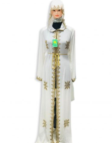 African Gold Beads Formal Kaftan with Jacket Guest Party Wear for Women