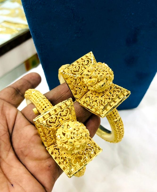 African Designer Golden Plated Premium Dubai Bangle 2 Set