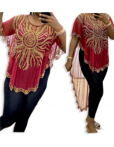 African Attire Golden Beaded Evening Party Wear Tunic Chiffon Dress