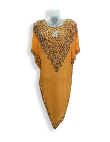 African Formal Maxi Gown Gold Beaded Kaftan Dresses for Dubai Women Party