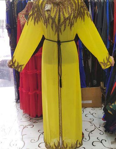 Formal Long Shrug Dubai Kaftan Gold Moroccan Beaded African Dresses for women