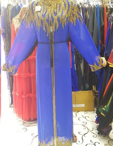Formal Blue Long Shrug Dubai Kaftan Gold Moroccan Beaded African Dresses for women