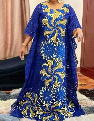 African Attire Fancy Golden & Royal Blue Swiss Voile Cambric Cotton Lace Fabric Material