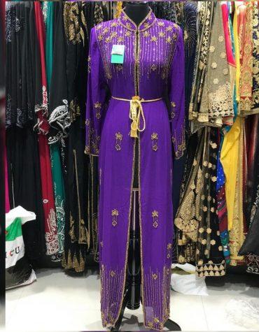 African Attire Formal Evening Moroccan Long Shrug Gold beaded Dubai Kaftan