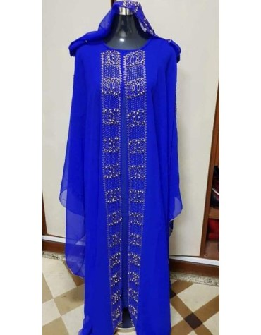 African Attire long sleeve Kaftan Dubai Morrocan Beaded Dresses For Women