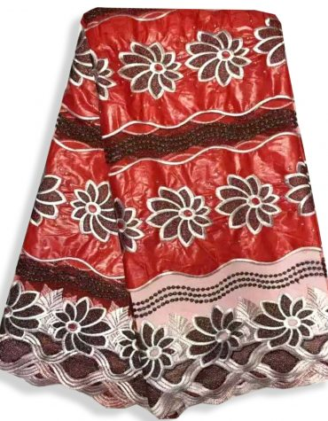 African Attire Floral Designer of Red Bazin Embroidered Work Golden Beaded Dress