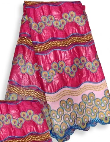 African Attire Floral Designer of Fuchsia Bazin Embroidered Work Golden Beaded Dress