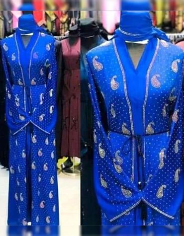 Royal Blue Ladies Islamic Designer Soft Nida Fabric Long Sleeve Dubai Abaya for Women