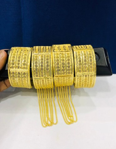 African Designer Golden Stylish Plated Premium Bangle 4 Set