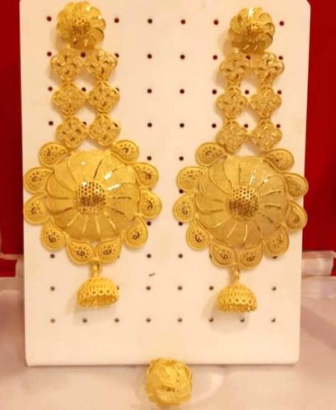 African Best Designer Golden Plated Earring Set for Woman