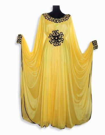 African Women Abaya Dresses Golden Beaded Chiffon Moroccan Dubai Kaftan