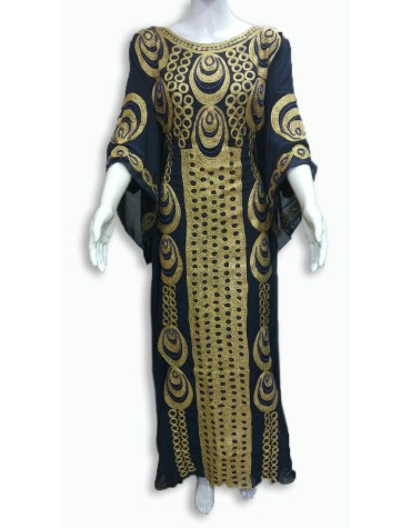 African Attire Embroidered Rayon Women Long Dress Stitched Elegant Gown
