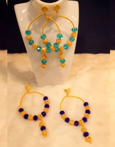African Fashion Beautiful Gold Earing Jewelry Set for Women