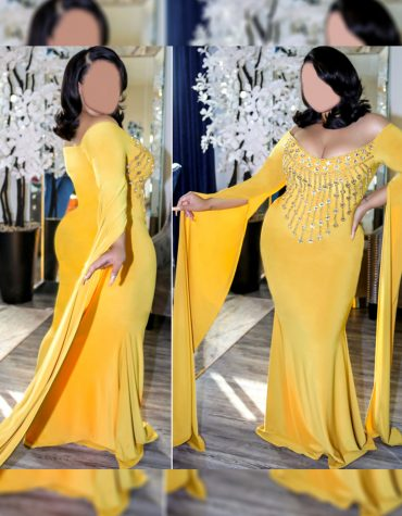 Latest Design Gold Embellished Beaded African Fancy Dresses Gown Long Spandex Kaftan