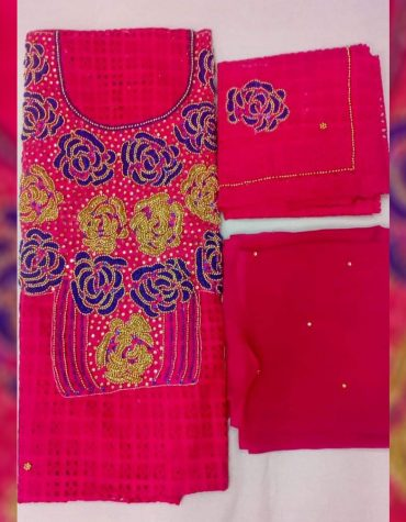Latest African Dry Cotton lace With Elegant Beads Designer Dress Material