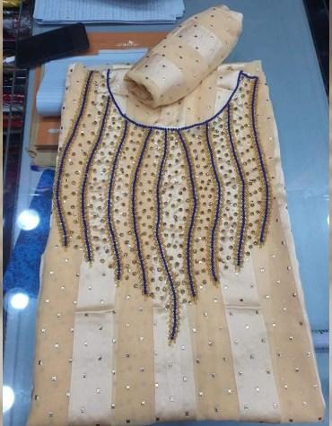Trendy Elegant African Designer Satin Silk Embroidered Moroccan Beaded Dress Material