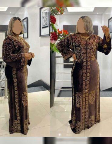 African Attire Embroidered Abaya for women Velvet Kaftan Elegant Rhinestone work