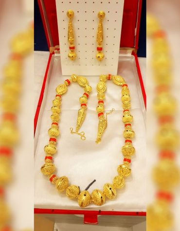 African Premium Unique Trendy Party Wear Necklace Gold Platted Jewelry Set for Women
