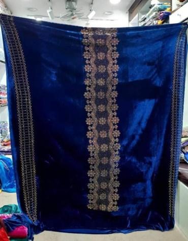 African Latest Rhinetsone Work Beaded Velvet Party Dress Material For Women