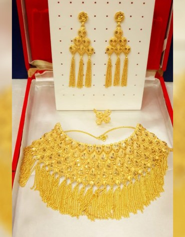 Fashionable Unique Trendy Party Wear Necklace Gold Platted Jewelry Set for Women