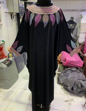 African Attire Chiffon Kaftan with Mix Color Rhinestone Work Dresses For Women