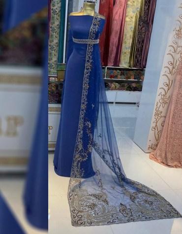 African Trendy Wedding Beaded Designer Dress Material for Bridesmaid Women