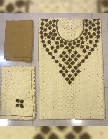 Elegant African Dry Cotton Lace Dress Material Embroidered With Golden Beads.