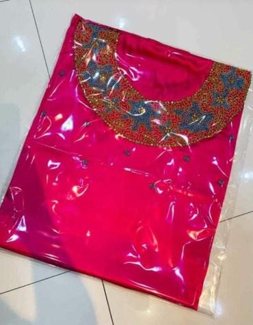 Unique Attire Formal Evening Beaded Satin Silk Dress Material For Women