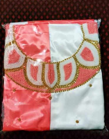 African Attire Formal Evening Beaded Satin Silk 2 Color Satin Silk Dress Material For Women