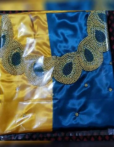 Designer Attire Formal Evening Beaded Satin Silk 2 Color Satin Silk Dress Material For Women