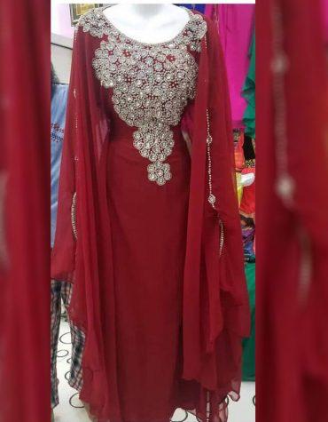 Latest Design African Attire chiffon kaftan Dress with Crystal Stone Work Dress For Women