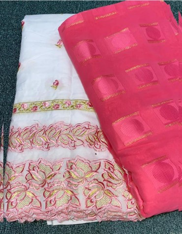New African Fancy Attire With Matching Embroidery Swiss Voile Cotton Dress Material For Women