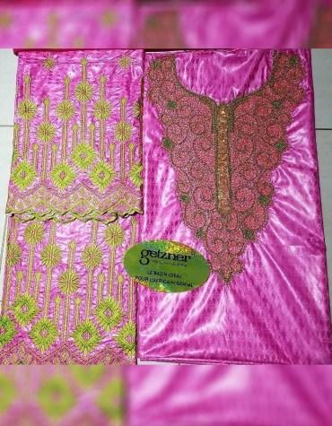 New African Attire 100 % Super Magnum Gold Getzner Bazin Dress Material For Women