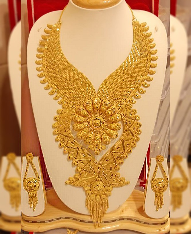 African Unique Designs Gold Jewellery Necklace and Earrings Set For Women