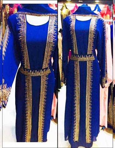 African Attire Kaftan Dress For Women Crystal Stone Work Chiffon Fabrics Moroccan Style