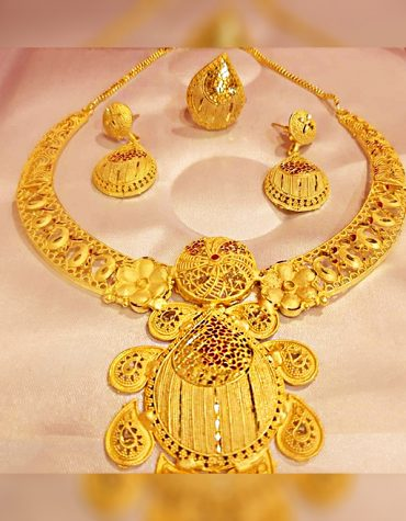 Premium Unique Trendy Party Wear Necklace Gold Platted Jewelry Set For Women