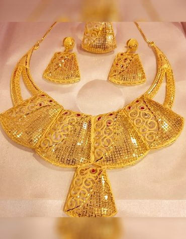 New Designer Fashionable Unique Trendy Party Wear Necklace Gold Platted Jewelry Set for Women