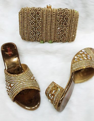 African New Elegant Multi Stone Work Handbag & Pearl Shoe Wedding For Women