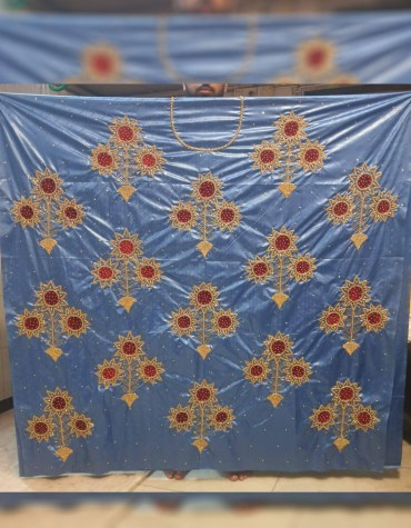 Latest African Attire Designers Quality Premium Work Satin Silk Dress Material For Women
