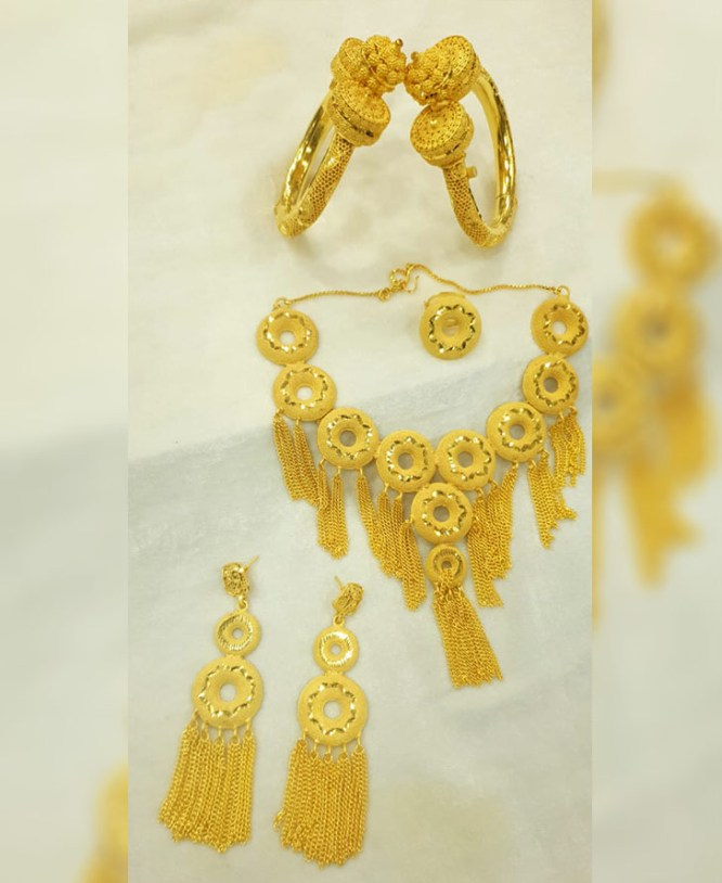 Elegant African Wedding Party Necklace And Earing Jewelry Set For Women