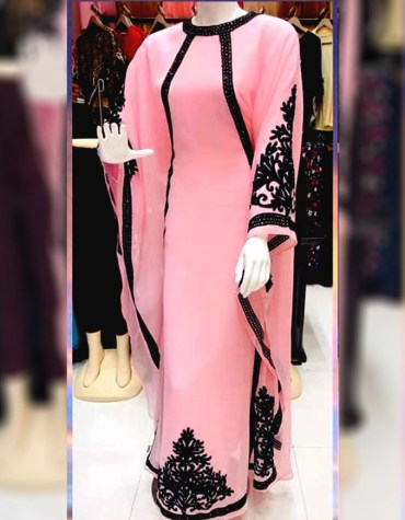 African Attire Chiffon Kaftan Gown with Black Embroidery Thread Work for Women