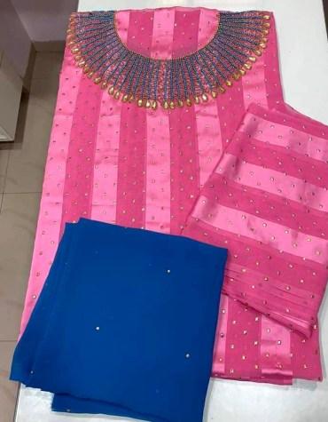 African Satin Silk Blue Rhinestone Beaded Dress Material for Women