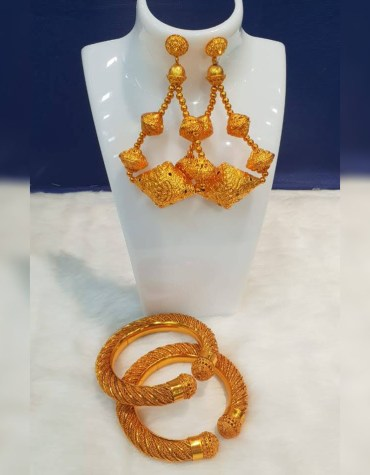 Evening Party Wear Golden Earring and Bangles Set for Women