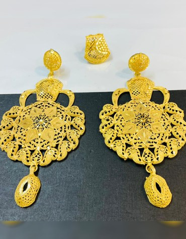 African Letest Design Wedding Party Wear Earrings with Finger Ring for Women