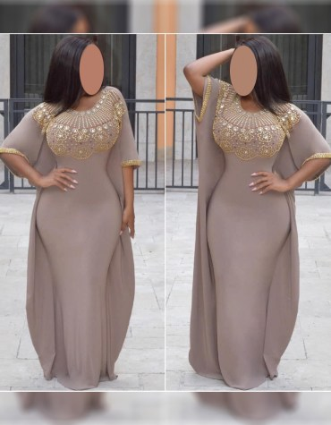 Beautiful Spendex Kaftan with Crystal Stone and Golden Beaded for Women