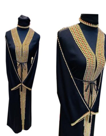 African Long Sleeve Rhinestones Gold Beaded Moroccan Party Wear
