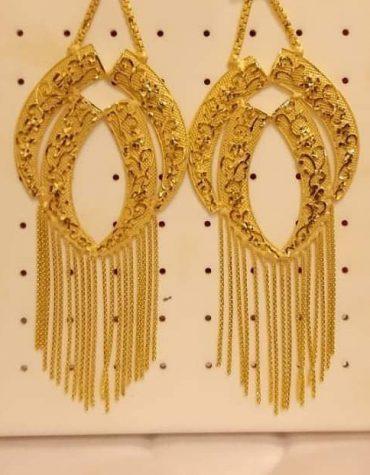 New African Formal Latest Wedding Party Wear Earrings 2 Gram Gold for Women