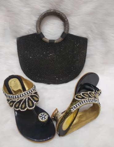 New Elegant Black coloured Purse With Crystal Work & 1 Pair Of Sandals With Pearl And Crystal Work Mix