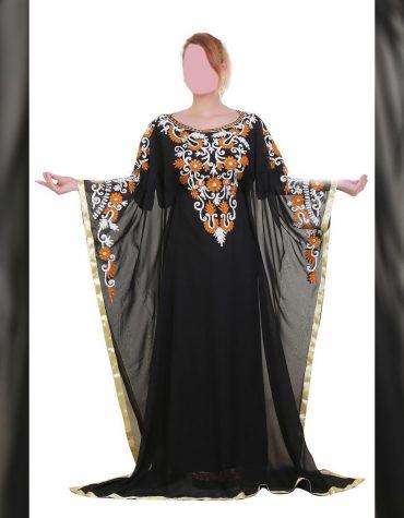 New Elegant Chiffon Kaftan For Evening Party Embroided Dubai Dress For Wedding